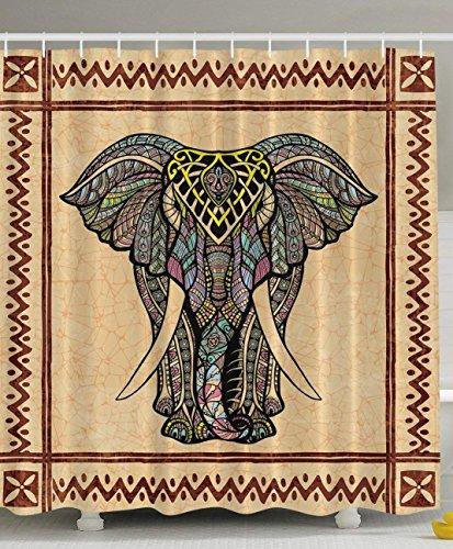 JIEKEIO Elephant Shower Curtain Decor Ethnic Tribal Chevron Frame Marble Look Paisley Hippie Hippy Boho Bohemian Celestial Traditional Good Luck Bathroom Textile Polyester Fabric, Brown Beige Gray -
