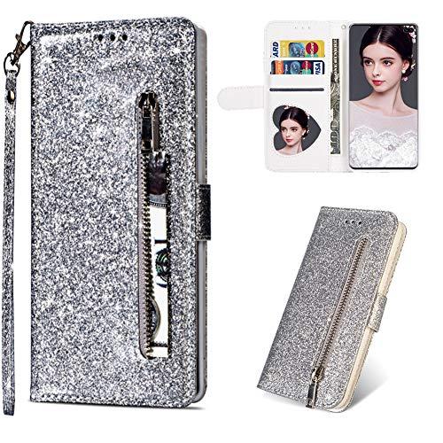 CESTOR Zipper Brieftasche Hülle für Samsung Galaxy S10,Luxus Bling Glänzend PU Leder Flip Hülle mit Halter Kreditkarte Slots Ultra Dünn Weich Silikon Hülle für Samsung Galaxy S10,Silber - Wandleuchte Halter