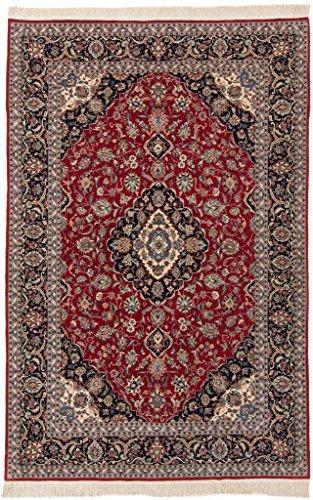 Kashan Roten Teppich (CarpetFine: China Kashan Teppich 186x282 Blau,Rot - Handgeknüpft - Floral)
