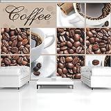 FORWALL Fototapete Tapete Koffeebohnen und Tassen Collage P4 (254cm. x 184cm.) Photo Wallpaper Mural AMF114P4 Kaffe Duft Kaffeebohnen Tasse Braun Kaffeemühle