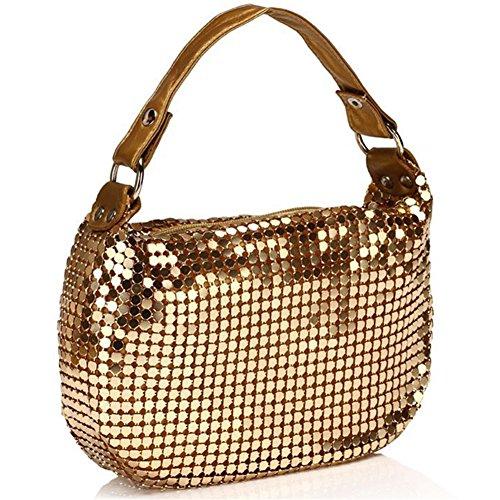 ERGEOB® Donna Clutch sacchetto di sera borsetta Clutch piccola Donna Clutchborsetta oro