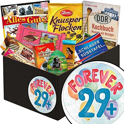 Forever 29 + | Schokolade Box | Geschenkbox Forever 29 + | Präsentkorb Schokolade | Geschenk zum 30. Geburtstag Bruder | inkl. DDR Kochbuch