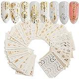 SYGA 30 Sheets Gold Silver Nail Art Water Transfer Decals Metallic Nail Stickers Nail Decorations