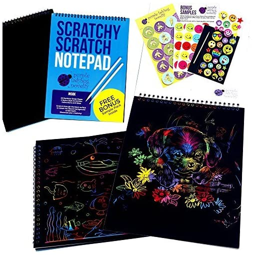 Rainbow-Scratch-Paper-Art-Kit-for-Kids-20-BIG-Sheets-of-Rainbow-Colour-Scratch-Off-Paper-in-a-Notepad-2-Scratchers-Perfect-Gift-for-Girls-or-Boys-Children-Travel-Activity-for-Airplane-or-Car