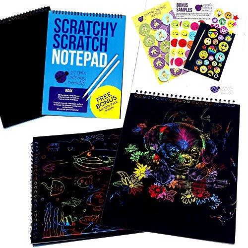 Cuaderno de Manualidades para Rascar de Purple Ladybug Novelty | Bloc de Anillas de Formato Grande con 20 hojas de Papel Rascable Multicolor  Ideal para Colorear y Dibujar | Incluye una Muestra Gratis