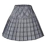 Urban CoCo Women's Elastic Waist Tartan Pleated School Skirt (Series 11 White, XXL)