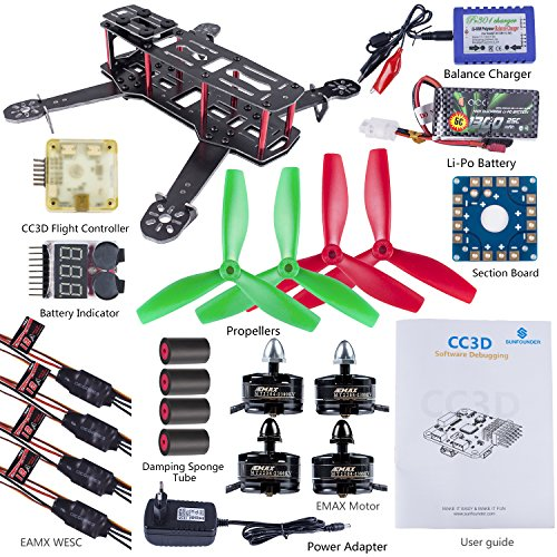SunFounder 250mm FPV Quadcopter Drone With one's suffer in one's mouth Kit CC3D Controller EMAX ESC Simon 12A Motor MT2204 2300KV 11.1V Li-po Battery Telescope Fiber Racing Flying 4-Axis CW/ CCW Propellers Congruity Charger for Lumenier QAV250 ZMR250
