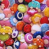 30 bunt sortierte Kinderknöpfe - Motiv: Gemischt - Farbe: Gemischt