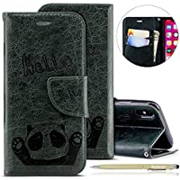 Herbests Handytasche für iPhone XS Lederhülle Niedlich 3D Panda Muster Flip Case Cover Hülle Leder Klapphülle Leder Tasche im Bookstyle Handyhülle Brieftasche Schutzhülle,Dunkelgrün