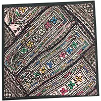 Mogul Interior Indian Pillow Cover Beige Tapestry Kutch Embroidered Wall Decor 18x18inch