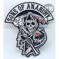 # 1329Sons Of Anarchy calavera Biker chaqueta parche hierro en Sew bordado de