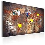 murando - Weltkarte Pinnwand & Vlies Leinwandbild 90x60 cm 1 Teilig Kunstdruck modern Wandbilder XXL Wanddekoration Design Wand Bild - Landkarte Karte Reise Geographie k-A-0140-v-a