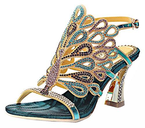 Honeystore Damen's Strass Pfau Pattern Handgemacht Sandalen Blau