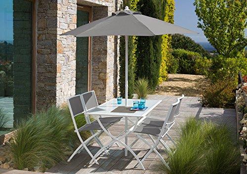 Salon de jardin gris avec parasol offert