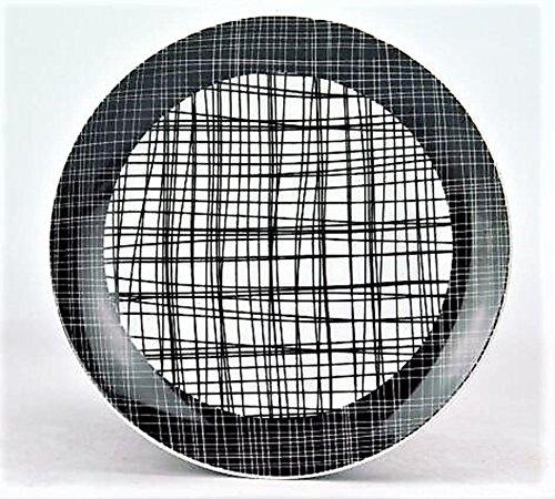 Jameson & Tailor 'Nippon Assiette en Porcelaine 19 cm Blanc Noir avec des Lignes Lot de 4