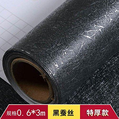 YUELA Fondo negro Wood-Grain Wallpaper Wallpaper Autoadhesivo impermeable PVC liso mate grueso Black-Matte Dormitorio desde el adhesivo 3M largo negro de seda, Grandes