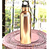 Prisha India Craft Pure Copper Water Bottle with Plastic Loop Cap Handmade Joint Free & Leak Proof Sports,Gym,Yoga Water Bottles | Capacity 900 ML