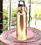 #5: Prisha India Craft Pure Copper Water Bottle with Plastic Loop Cap Handmade Joint Free & Leak Proof Sports,Gym,Yoga Water Bottles | Capacity 900 ML