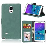 Samsung Galaxy Note 4 Case Leather, Ecoway Retro Scrub PU Leather Stand Function Protective Cases Covers with Card Slot Holder Wallet Book Design for Samsung Galaxy Note 4 - green