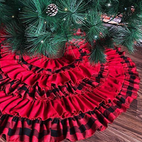 JUSTDOLIFE 4803in Weihnachtsbaum Rock Fashion Plaid Ruffle Tree Decor Rock Xmas Supplies