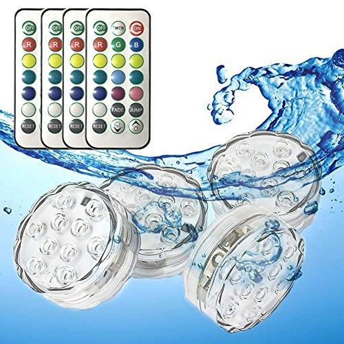 (Unterwasser Licht mit Fernbedienung, RGB Mehrfarbig Wasserdicht Tauchbar LED-Licht zum Aquarium, Vase Basis, Teich, Garten, Party, Weihnachtsdekoration Lichter, Batteriebetrieben (4 Stück))