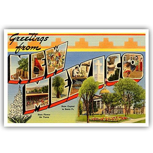 Grüße aus New Mexico Vintage Nachdruck-Postkarten-Set von 20identische Postkarten. Groß US State Name Post Card Pack (ca. 1930's-1940's). Hergestellt in den USA. (Vintage Post Card)