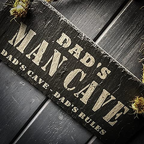 Dad's Man Cave Slate Dad's Cave Dad's Rules Hanging Sign - 25x10cm - Perfect Manly Gift For Xmas, Birthday, Fathers