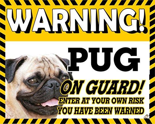MOPS (Fawn) gelb ACHTUNG Hund Metall Schild 200
