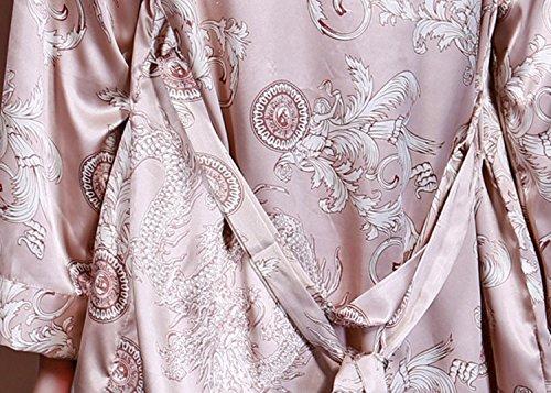 BININBOX® Damen Sexy Elegant dreiteiligen Schlafanzug Nachtwäsche mit langer Hose Morgenmantel Pyjama aus Satin Kaffee
