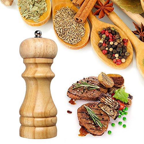 Pfeffermühle, fellibay Salz und ppepper Shaker Eiche Klassische Holz Spice Corn Mill Grinder Mull Manuelle Würze Flasche Keramik verstellbares Mahlwerk Grobheit -