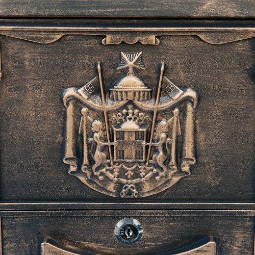 ZNL Briefkasten Postkasten aus Aluguss Antiker Wandbriefkasten XBX03 Antik-Gold - 4
