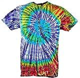 Guru-Shop Batik T-Shirt, Herren Kurzarm Tie Dye Shirt, Lila/grün Spirale, Baumwolle, Size:M, Rundhals Ausschnitt Alternative Bekleidung