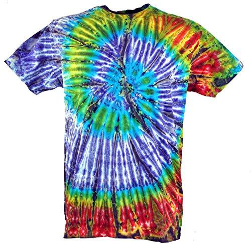 Guru-Shop Batik T-Shirt, Herren Kurzarm Tie Dye Shirt, Lila/Grün Spirale, Baumwolle, Size:XL, Rundhals Ausschnitt Alternative Bekleidung (Klein Dye Tie Herren)