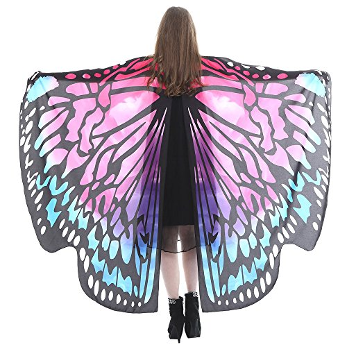 VEMOW Heißer Verkauf Damen Cosplay Party 168 * 135 CM Schmetterlingsflügel Schal Schals Damen Nymphe Pixie Poncho karneval Kostüm Zubehör(X2-Hot pink, 168 * 135CM)