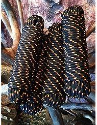 Nº 38Negro Rocío de 10mm x 30m, cuerda, cuerda, cuerda trenzada, Soga de cuerda, cuerda, banda, para pasamanos, polipropileno Cuerda,, polipropileno Cuerda, Barco Cuerda, ancla cuerda, amarre, cuerda multiusos, toldo de rocío