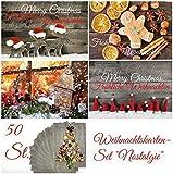 """Weihnachtskarten (Set 2): """"NOSTALGIE II"""" 50-er Set Weihnachtskarten (5 Motive x 10 St. = 50 St.) nostalgisch - ein Nostalgie-Weihnachtspostkarten-Set im Retro / Vintage-Stil von EDITION COLIBRI © (10824-28)"""