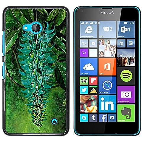 NOKIA Lumia 640 - Aluminum Metal & plastica dura Phone caso - nero - Ramo verde turchese delle piante da giardino della foresta