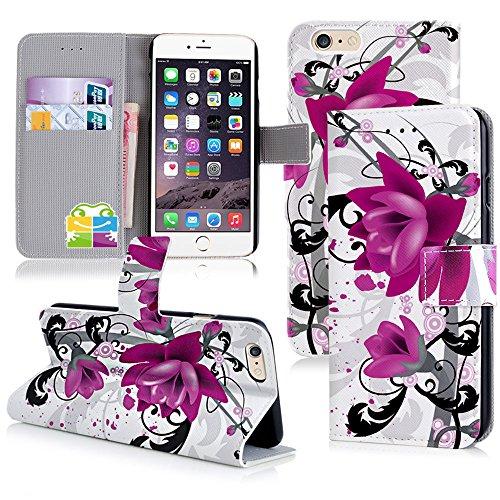 Apple iPhone 6 Handyhülle inklusive Displayfolie Lila Blumen Design 7