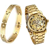 JewelryWe Orologi Meccanici Uomo, Display Oro,Pointer Oro,Bracciale Colore Oro in Acciaio Inossidabile
