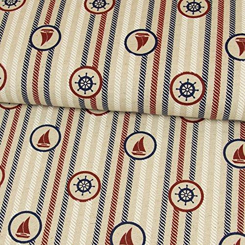 Dekostoff Seefahrt beige maritim Seile - Preis gilt für 0,5 Meter - (Polyester-canvas-tasche)