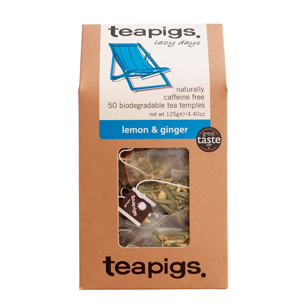 Teapigs lemon and ginger tea (infusions) (50 bags) (a fruity, spicy tea with aromas of ginger, lemon) (brews in 3 minutes)
