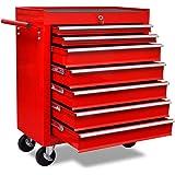 Tidyard Metalen werkplaatswagen, gereedschapswagen, gereedschapswagen met 7 laden en 4 zwenkwielen, afsluitbaar, rood