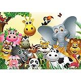 Vlies Fototapete PREMIUM PLUS Wand Foto Tapete Wand Bild Vliestapete - Kindertapete Comic Tiere Zootiere Zoo Elefant Löwe Schlange - no. 2830, Größe:312x219cm Vlies