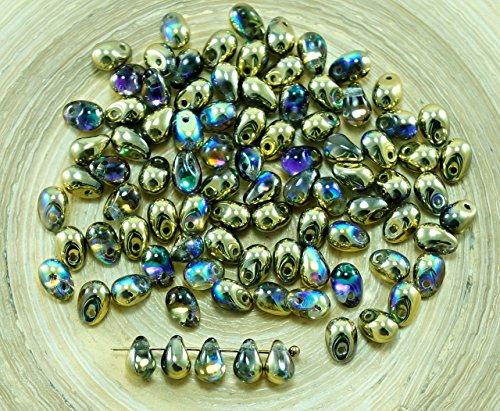 40pcs Crystal Golden Rainbow di Vetro ceco Piccola Goccia Perline 4mm x 6mm