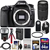Canon EOS 80D Wi-Fi Digital SLR Camera Body With 75-300mm III Lens + 64GB Card + Battery + Backpack + Flash + Flex Tripod + Kit