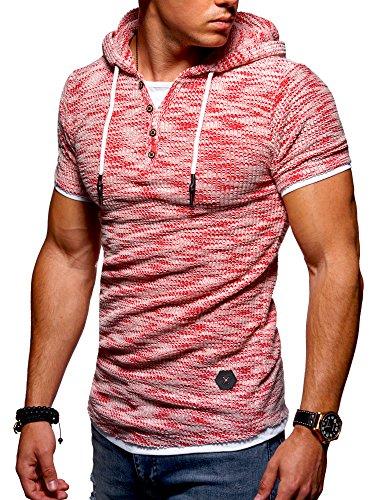 Ombre-Eight Herren Oversize T-Shirt Hooded Henley O-215 [Rot, XL] (Baumwolle Henley Hooded)