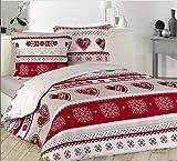 bng Housse de couette Coeur Rouges Charme Montagne +2 taies d oreiller 100% COTON (220 X 240)