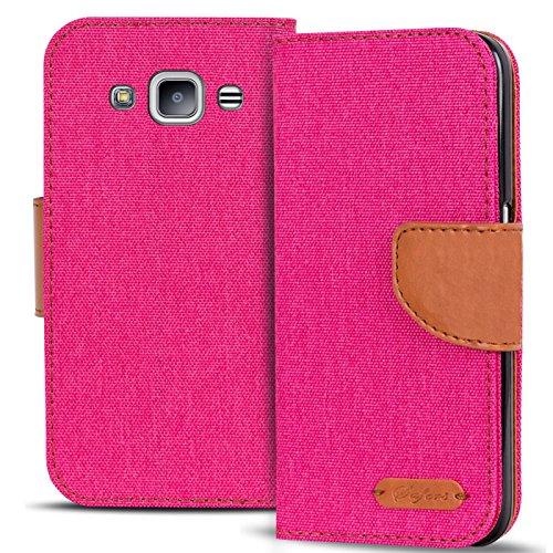 Conie Textil Hülle kompatibel mit Samsung Galaxy J1 2016, Booklet Cover Pinke Handytasche Klapphülle Etui mit Kartenfächer