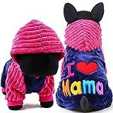 Abbigliamento per cani da compagnia, amo papà e mamma di animale domestico di piccola dimensione Piccoli grandi cappotti di moda cane Giacche Abbigliamento con costume cane cappello caldo Felpa con cappuccio casual 2 Colore e dimensioni 5 ( Color : Red , Size : XS )
