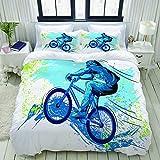 ALLMILL Parure de lit Adulte,Housse de Couette,BMX de Sportsman Cycling Extreme Vélo...